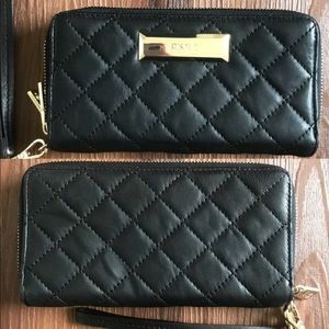 DKNY gold and  black quilted leather wallet